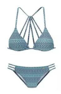 NEU Venice Beach Ethno Triangel Bikini - herausnehmbare Cups mint grau 34 A/B
