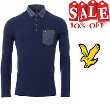 Lyle & Scott Men's Lyle Scott Woven Collar Polo Shirt Cardigan Sweat Shirt  Navy