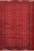 Vintage RED Geometric Bokhara Area Rug Hand-knotted Oriental All-Over 3x5 Carpet