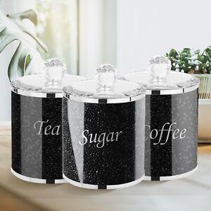 BLACK CRUSHED DIAMOND CRYSTAL FILLED TEA COFFEE SUGAR CANISTER JARS STORAGE