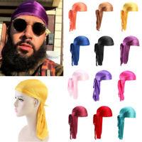 Men Women Silky Durag Bandanna Turban Hat Wigs Doo Rag Biker Headwear Headband