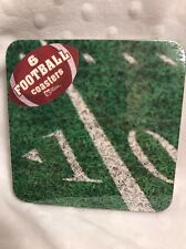 New  Set of 6 Football Field Coasters Super bowl Party Cork Backed