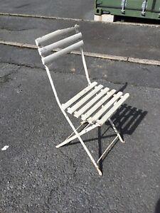 Vintage French Wooden Iron Bistro Patio Folding Garden Chair