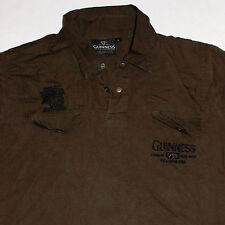 Guinness Polo Shirt Medium Embellished Ireland Beer Stout Olive Green