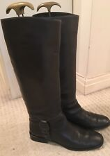 SALVATORE FERRAGAMO Knee High Boots, Leather, Brown, SK 1881 F21, Womens