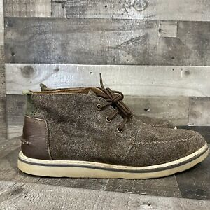 Toms Mens Chukka Boots Black Fabric Uppers Lace Up Moc Toe Size 10.5 M