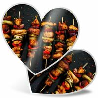 2 x Heart Stickers 10 cm - BBQ Kababs Grill Tasty Food  #2655