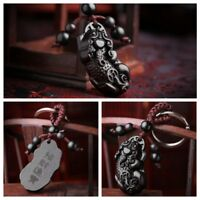 Ebony Wood Carving Chinese Pixiu Pi YAO Dog Statue Sculpture Pendant Key Chain