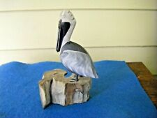 Carved Pelican Shore Bird on Driftwood