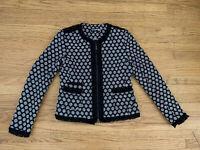 Karl Lagerfeld Paris Womens Size 4 Tweed Boucle Zip Career fringe Jacket