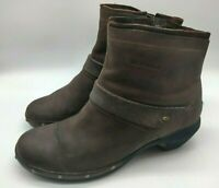 $120 MERRELL Luxe Mid Women's Brown Leather Zip Boots Size 10 Very Nice!!