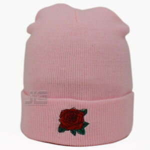 Rose Embroidery Red Rose Cuffed Beanie Skully Men Women New Knit Hat Winter Cap