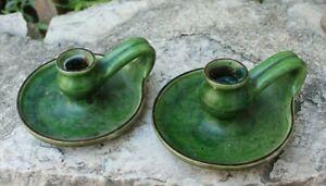 ancienne paire de bougeoir en terre cuite vernissée