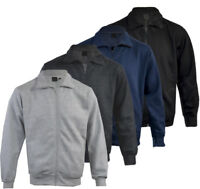 Mens Long Sleeve Top Sweatshirt Jacket Full Zip Funnel Neck Pull Over M-2XL