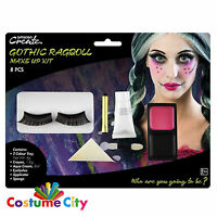 Halloween Womens Gothic Rag Doll Face Paint Make Up Kit Party Fancy Dress