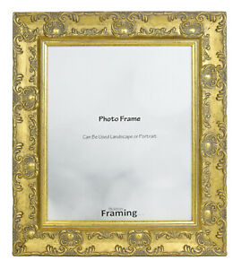 WIDE Ornate Shabby Chic Antique swept Picture frame photo frame GOLD  MUSE