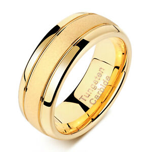 Tungsten Rings For Men Wedding Bands For Him 8mm 14K Gold Finish Grooved Sz 7-13