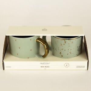 Hearth and Hand Magnolia Mini Coffee Mug Set of 2 Speckled Light Green/Sage/Gold