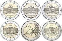 Deutschland 5 x 2 Euro 2019 Bundesrat mit Münzzeichen A D F G J bankfrisch