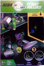Neon Pop n Lock Street Roller Skates Green Shoe Clip-Ons Kids Age 6+ Sports