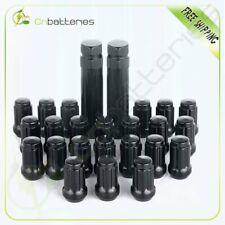 """23 Set Black Spline Lug Nuts 1/2"""" X 20  Fits Most Jeep Ford Vehicles + 2 Keys"""