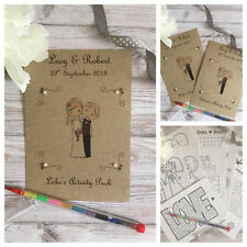 CHILDRENS PERSONALISED A6 BROWN WEDDING ACTIVITY PACK BOOK BAG PARTY GIFT FAVOUR