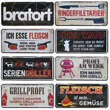 Blechschild Metall Schild Grillen Bratort GrillWars Griller Fleisch Deko lustig