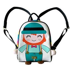 Luv Betsey Johnson Lucky Leprechaun Kitsch Small Backpack Rainbow & Black