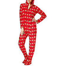Family PJs Women's Pajamas Red Hooded Footed Printed Holiday Reindeer Size M