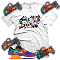 New White SAVAGE Sneaker T Shirt for Air Max 90 OG VIOTECH MULTI COLOR