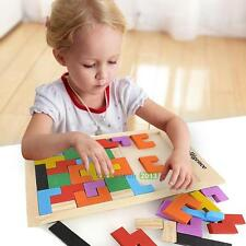 Wooden Tangram Brain Teaser Puzzle Tetris Game Educational Baby Kids Toy Gifts