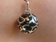 "Balinese Harmony Ball pendant genuine 925 silver 18mm ""black Filigree"" with cord"