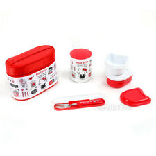 NEW SANRIO JAPAN HELLO KITTY SWEETS BENTO LUNCH BOX FOOD CONTAINERS FORK BAG SET
