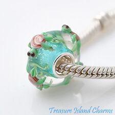 Sea Turtle Green Lampwork Murano Glass .925 Sterling Silver European Bead Charm