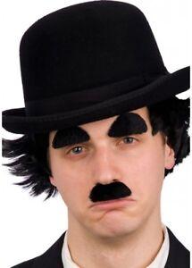 Charlie Chaplin Style BLACK Moustache & Eyebrow Tash Set Funny Mens Fancy Dress