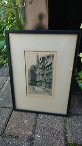 19th Century Etching Old London Wych Street Strand Architecture Signed