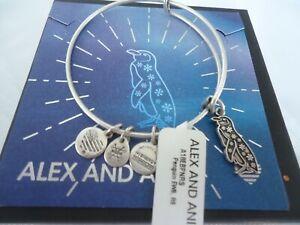 Alex and Ani PENGUIN II Russian Silver Charm Bangle New W/Tag Card & Box
