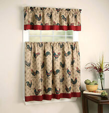 Regal Home Collections Rooster Pullet Kitchen Curtain Tier & Valance Set