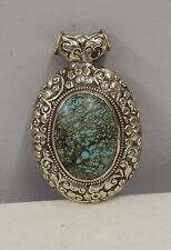 Pendant Oval Turquoise Ornate Embellished Silver Tibetan Pendant Necklace