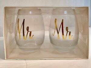 Mr & Mr Gold Stemless Wine Glasses Same Sex With Elegant Lettering 176 Oz