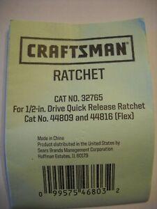 "Craftsman Repair Kit #32765 for Ratchet 1/2"" Drive 44809 and 44816 Flex Ratchet"
