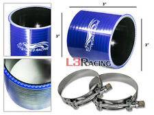 """BLUE 3"""" 76mm 3-ply Silicone Coupler Hose Turbo Intake Intercooler + Clamps AC"""