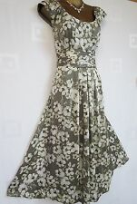 ~ LOVELY MONSOON SUZIE COCKTAIL DRESS SIZE 14 MINK IVORY FLORAL PRINT OCCASION ~