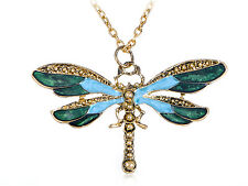 Vintage Men Women Painted Wing Dragonfly Blue Green Brass Tone Pendant Necklace