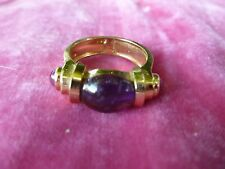 GORGEOUS POST MODERN CONTEMPORARY 14K GOLD AND AMETHYST RING #1 SIZE 6
