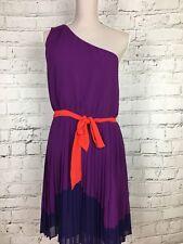 Next Women's Dress One Shoulder Purple Red Tie Waist Size UK 14 US 10