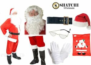 Deluxe Santa Claus Costume Father Christmas Suit Mens Adult Fancy Dress Outfit