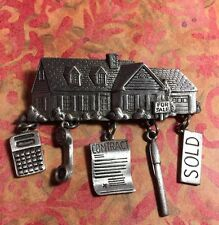 Pewter J.J. Signed Vintage Realtor House For Sale Brooch Pin W/Charms CC-23