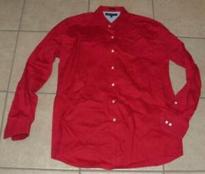 Mens Medium 15 1/2 - 34/35 Red Regular Fit Button Down Shirt TOMMY HILFIGER