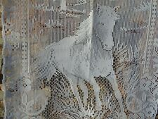 French lace motif horse a pair of white curtain 16'' x 46.5''  of each